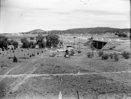 Commonwealth Avenue Bridge over the Molonglo River, from north showing sewerage tunneling works.