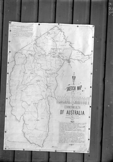 Photograph of sketch map of the Federal Territory, Commonwealth of Australia.