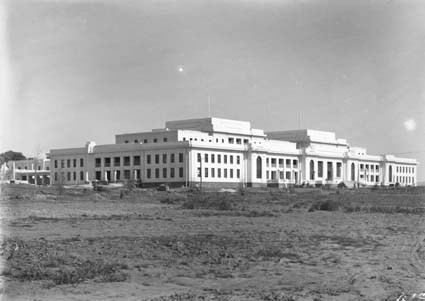 Parliament House front from north east before garden beds and roadworks