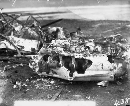 Aircraft crash showing engine - Single seat Scout Experimenter prefix A2 crashed at the opening of Parliament on 9 May 1927 on Rottenbury Hill at the site of St Marks Church, Blackall Street, Barton - Pilot Flying Officer EWEN was killed and is buried in St John's churchyard - See Canberra Times 13 May 1927 for details