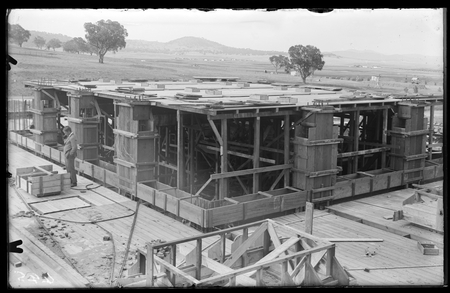 Parliament House under construction showing form work.