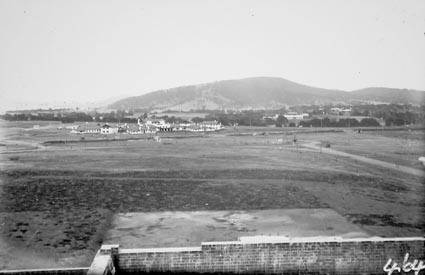 Hotel Canberra and Acton Offices from Parliament House,Black Mountain in background