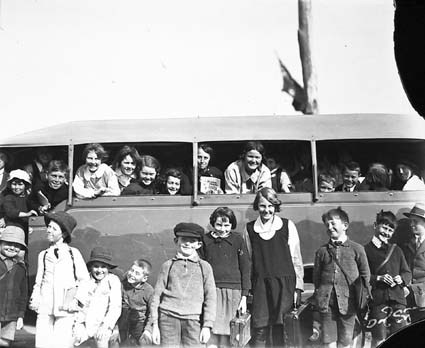 Bean School bus with children. Westridge, Cotter , Stromlo bus service