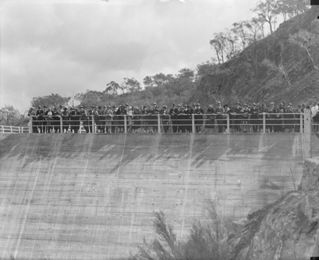 Tour of Canberra by the Victorian Branch of the English Speaking Union, at the Cotter Dam wall.