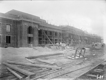 Parliament House before plastering, brickworks railway in front.