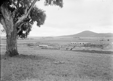 Parliament House. Early days of construction, from Camp Hill.