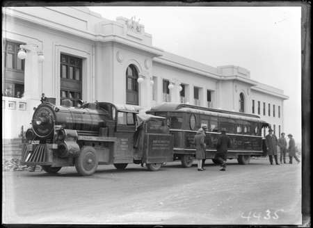 Metro Goldwyn Mayer Trackless Train outside Parliament House.