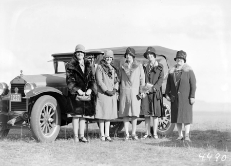 Ladies with a Fiat motor car at a polo carnival, Campbell Park.