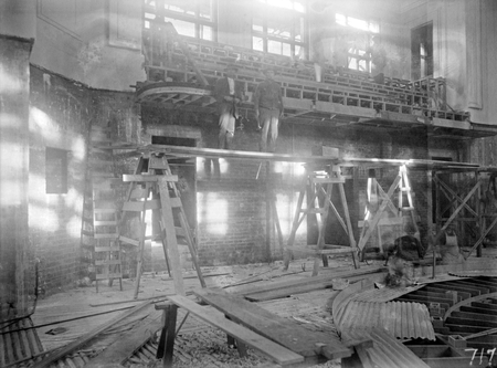 Interior of Parliament House under construction.