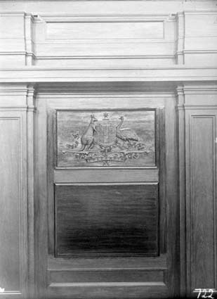 Coat of Arms and panelling in Parliament House