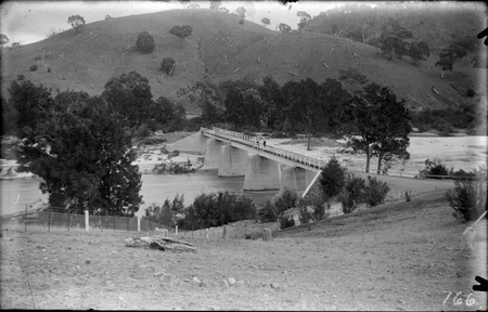 Murrumbidgee River Bridge after 1925 flood. Western approaches washed away, near the Cotter Pump House.