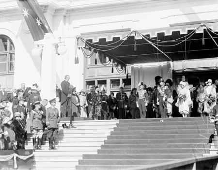 Royal Visit May 1927. Prime Minister Rt Hon S M Bruce welcoming the Duke and Duchess of York, on the steps of Parliament House.