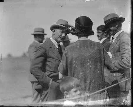 Racegoers at Acton racecourse.