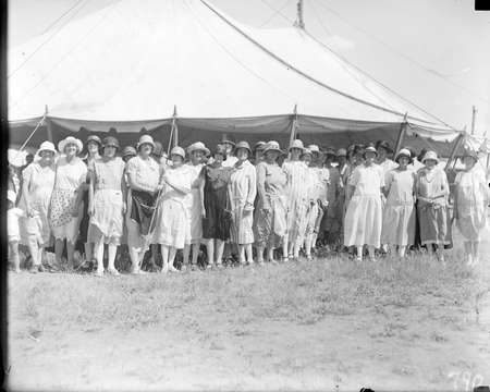 Group of ladies at a marquee, Acton racecourse.