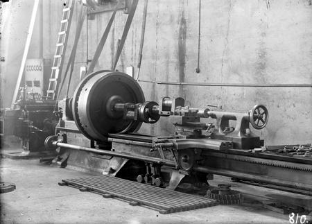 Kingston Power Station workshops - Large engine lathe, with crankshaft
