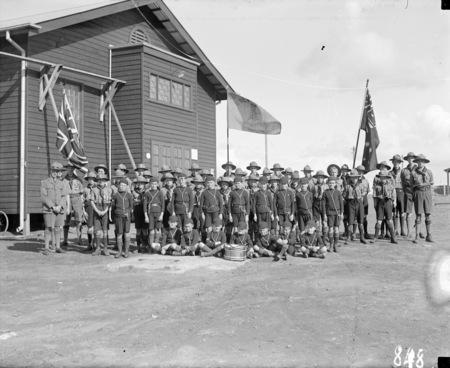 Boy Scouts outside Causeway Hall