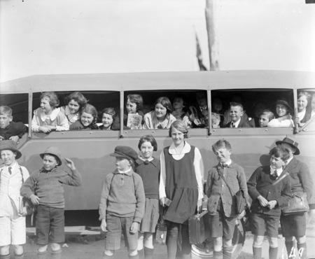 School Children and school bus.