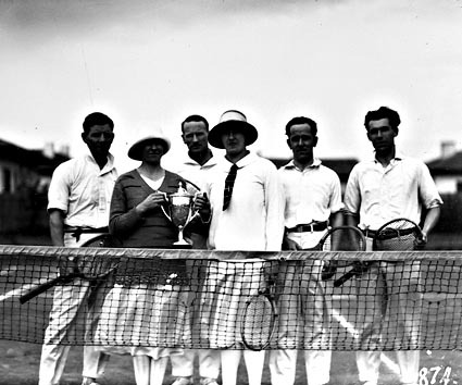 Tennis players with trophy at Kingston Courts, Eastlake.