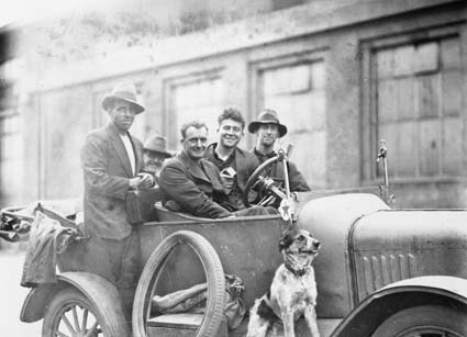 Car with five men and a dog outside Kingston Power Station