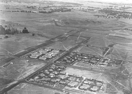 Aerial view of Braddon looking south, Gorman House on left (Ainslie Avenue )  and Braddon cottages