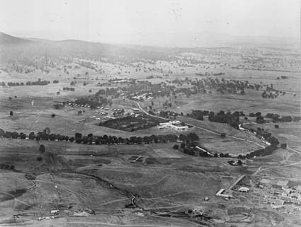 Aerial view looking towards Acton, Hotel Canberra on right