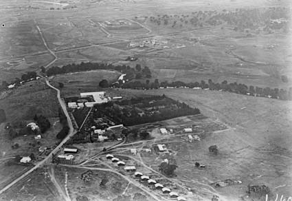 Aerial view of Acton looking east, Lennox Crossimg on left,Hotel Canberra at the rear