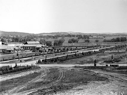Commonwealth Avenue looking north from West Block showing Hotel Canberra and Hotel Acton