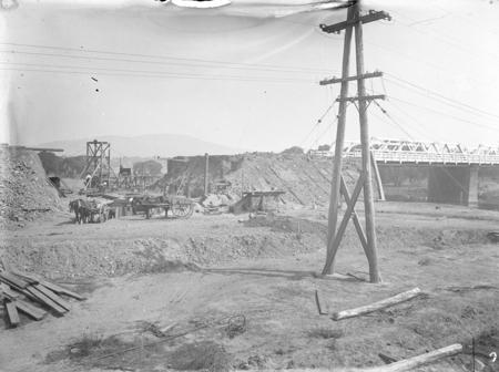Commonwealth Avenue Bridge embankment under repair following 1925 floods