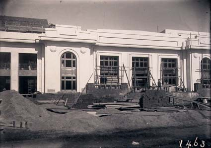 Parliament House front facade, under construction