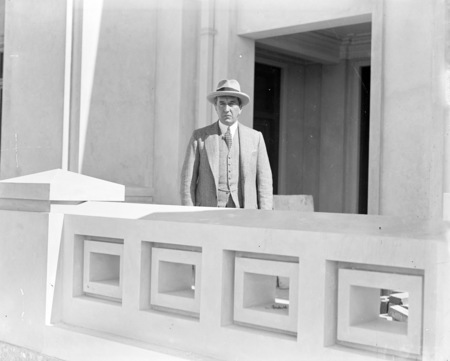 Prime Minister, Rt Hon Stanley Melbourne Bruce at Parliament House construction.