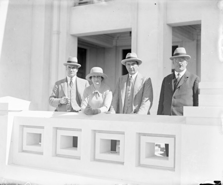 Rt Hon Stanley Melbourne Bruce and Mrs Bruce with Sir John Butters and Sir John Hanson at Parliament House construction.
