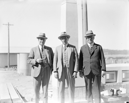 Rt Hon Stanley Melbourne Bruce with Sir John Butters and Sir John Hanson at Parliament House.