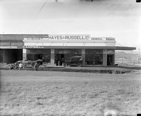 Shops at Kingston. Hayes and Russell Ltd, General Merchants and Campbell, Chemist.
