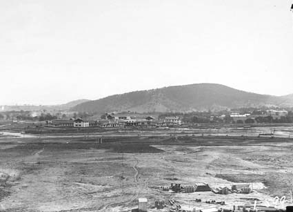 Hotel Canberra and Acton area from Parliament House construction