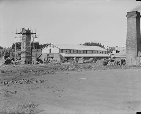 Canberra Brickworks showing smoke stacks and kiln buildings.