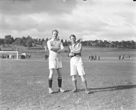 Captains of the two soccer teams at Acton Sports Ground.