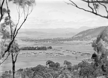 View from Mt Ainslie over Reid area showing Civic Centre under construction and Acton area.