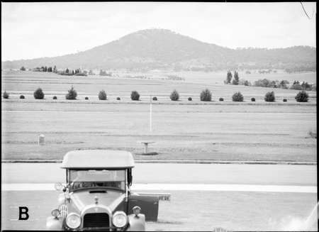 View from Parliament House to Mt. Ainslie.