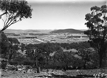 Braddon and Civic Centre from Mount Ainslie,Ainslie Hotel in foreground