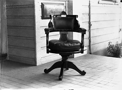The  chair on the front verandah of the office of the Federal Capital Commission