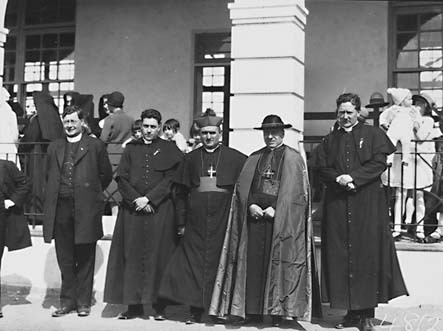 Cardinal  and clergy,L to R, Father O'Sullivan , Father Dunleavey , Bishop Dr. Barry, Cardinal Cerretti, Father  Hayden in front of St Christophers School