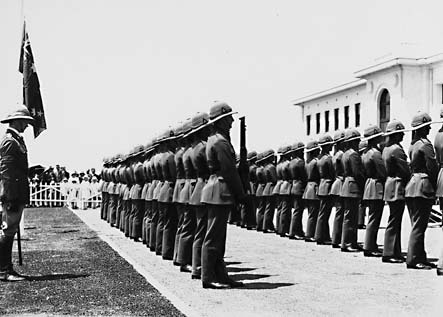 Armistice Day, Parliament House front steps with  RMC [Royal Military College] Cadets presenting arms for the one minute silence