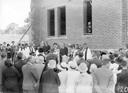 Laying the foundation stone for the Canberra Church of England Boys Grammar School Flinders Way, Red Hill. Clergy and speakers.
