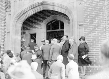 Laying the foundation stone for the Canberra Church of England Boys Grammar School Flinders Way, Red Hill. Spectators entering the building.