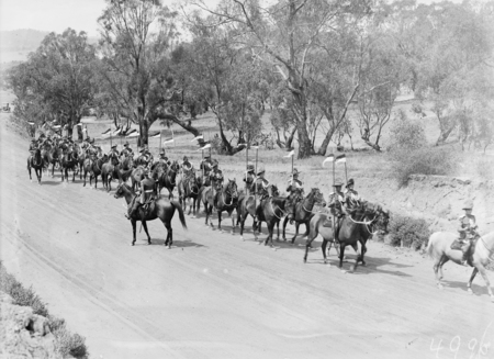 Opening of the 16th Parliament, Light Horse troop on the march in State Circle.
