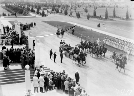 Opening of the 16th Parliament. Governor-General, Lord Stonehaven arriving at Parliament House in State Landau with escort of Light Horse.