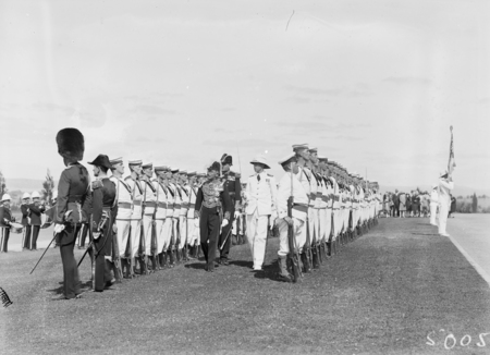 Opening of the 16th Parliament. Governor-General inspecting Naval Guard of Honour.
