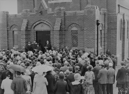 Dedication of the Baptist Church, Currie Crescent, Kingston. Clergy conducting the Dedication Ceremony before the spectators.