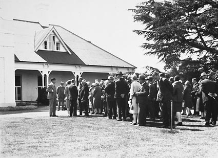 15th Australian Provincial Press Conference - Delegates in line to be introduced to the Governor General, Lord Stonehaven and his Lady at Government House, Yarralumla , the residence of the Govenor- General