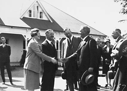 15th Australian Provincial Press Conference - Delegates on the lawns of Government House, Yarralumla the Govenor- General's residence being introduced to the Governor- General and his lady